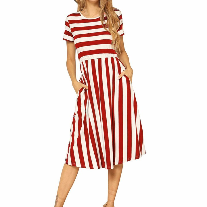 KPILP Women's Casual Short Sleeve Striped Swing Midi Slim Summer Dress with Pockets Red