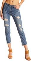 Just USA Distressed Slim Cropped Boyfriend Jeans (Juniors)