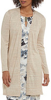 Calvin Klein Marled Stripe Fine Gauge Knit Open Front Long Cardigan