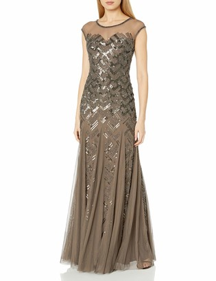 Adrianna Papell Women's Cap Sleeve Illusion Neck Gown