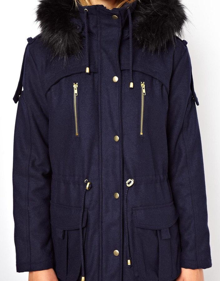 Asos Wool Parka With Faux Fur Hood