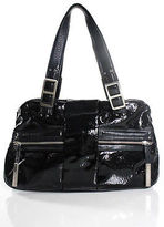 Calvin Klein Black Patent Leather Silver Tone Buckle Detail Shoulder Handbag