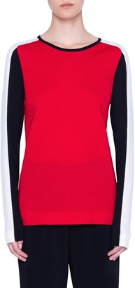 Akris Punto Colorblock Stripe Merino Wool Sweater