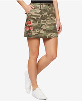 Sanctuary Embroidered Camo-Print Skirt
