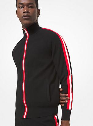 Michael Kors Contrast Stripe Stretch Viscose Track Jacket - Black