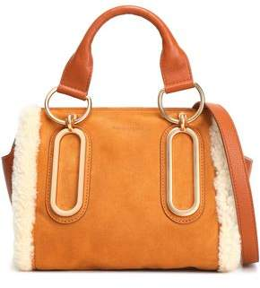 See by Chloe Paige Shearling-trimmed Suede And Pebbled-leather Shoulder Bag