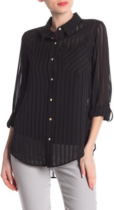 Nanette Lepore Striped Long Sleeve Blouse