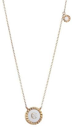 Marli Coco Femme 18K Rose Gold, White Agate & Diamond Pendant Necklace
