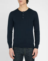 M.STUDIO Terence navy cotton sweater with Tunisian style neck