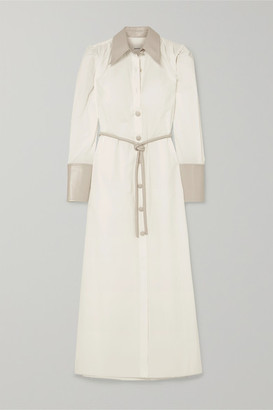 Nanushka Yoon Vegan Leather-trimmed Cotton-poplin Shirt Dress - White