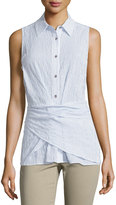 MICHAEL Michael Kors Sleeveless Button-Front Wrap Top, Blue