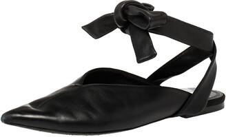 Celine Black Leather V Neck Pointed Ankle Wrap Mules Size 39