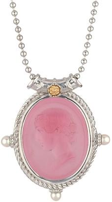 Tagliamonte Sterling / 18K Cultured Pearl Venetian Cameo Pendant w/ Chain
