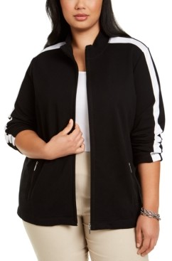 Karen Scott Plus Size Zip-Up Jacket, Created for Macy's