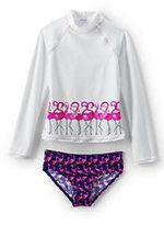 Classic Girls Long Sleeve Rashguard Set-Bright Azalea Pink Floral