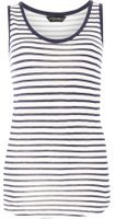 Dorothy Perkins Womens Ivory and navy stripe vest- Blue