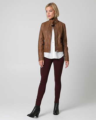Le Château Two-Tone Faux Leather Motorcycle Jacket