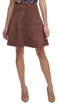 Tommy Hilfiger Faux-Suede Flared Skirt