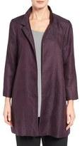 Eileen Fisher Gypsum Jacquard Stand Collar Coat