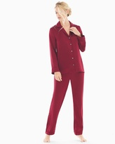 Soma Intimates Silk Pajama Set Jungle Red
