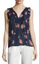 Joie Lea Flocked Floral-Print Sleeveless Top, Navy Blue Pattern
