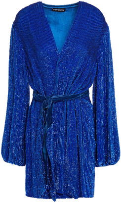 retrofete Belted Velvet-trimmed Sequined Georgette Mini Dress