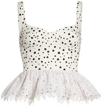 Silvia Tcherassi La Banquera Crochet Peplum Top