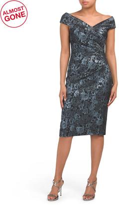 Print Stretch Jacquard Cocktail Dress