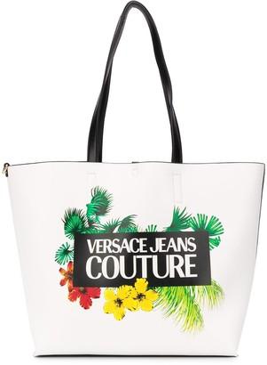 Versace Floral Logo Print Tote Bag