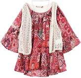 Speechless Girls 7-16 Crochet Vest & Chiffon Flounce Top with Necklace