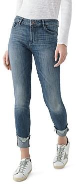 DL1961 Dl Florence Distressed-Hem Skinny Ankle Jeans in Moore
