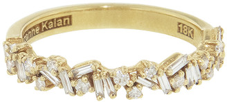 Suzanne Kalan Halfway Mixed Baguette and Round White Diamond Ring - Yellow Gold