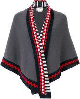 Antonia Zander shawl with geometric print trim