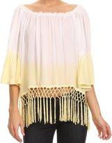 Sakkas NP23780 - Shax Short Ombre Fringe Tassel 3/4 Wide Bell Sleeves Crop Top Blouse Shirt - OS