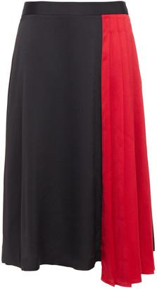 DKNY Pleated Two-tone Satin-crepe Mid Skirt