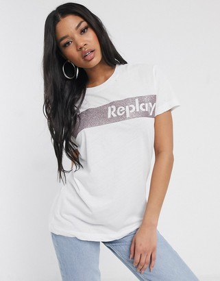 Replay logo shirt with pink glitter-White