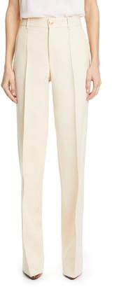 Gucci High Waist Silk & Wool Cady Crepe Flare Pants