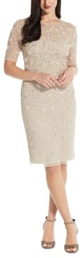 Adrianna Papell Beaded Floral Sheath Dress