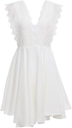 Sandro Evo Asymmetric Guipure Lace-paneled Twill Mini Dress