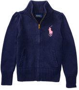Ralph Lauren 7-16 Cotton Zip-Up Mockneck Sweater