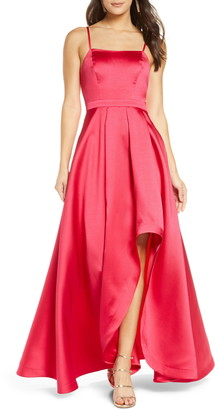 Sequin Hearts Square Neck Mikado High/Low Gown
