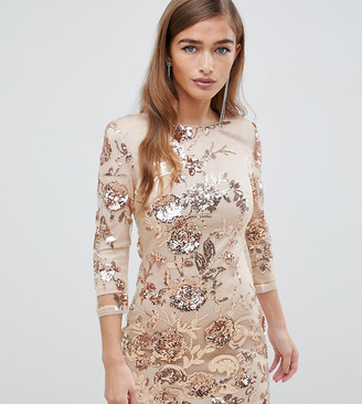 TFNC Petite floral sequin mini bodycon dress in rose gold
