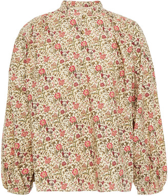 Vanessa Bruno Gathered Floral-print Cotton Blouse