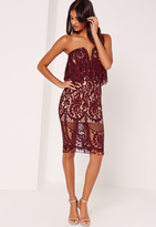 Missguided Lace Bandeau Frill Midi Dress Burgundy