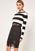 Missguided Ripped Hem Denim Midi Skirt Black