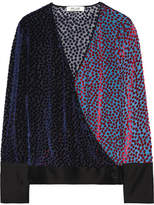 Diane von Furstenberg Wrap-effect Satin-trimmed Flocked Chiffon Blouse