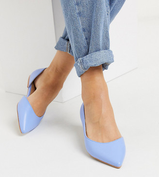 ASOS DESIGN Wide Fit Virtue d'orsay pointed ballet flats in blue