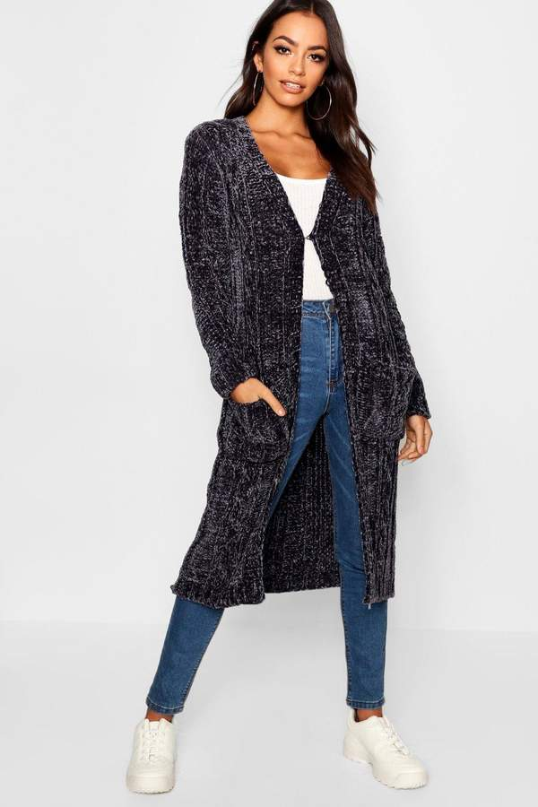 boohoo Maxi Cable Chenille Cardigan