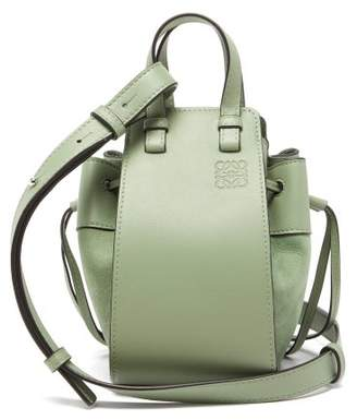 Loewe Hammock Mini Suede-panel Leather Bag - Womens - Light Green