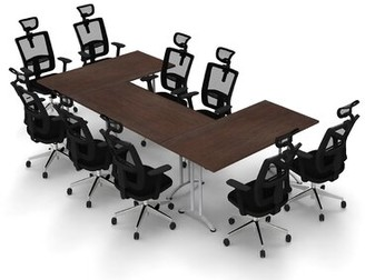 Symple Stuff Bauxite Rectangular Conference Table Set Finish: Java